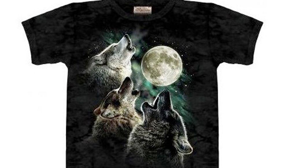 t shirt moche loup lune noir