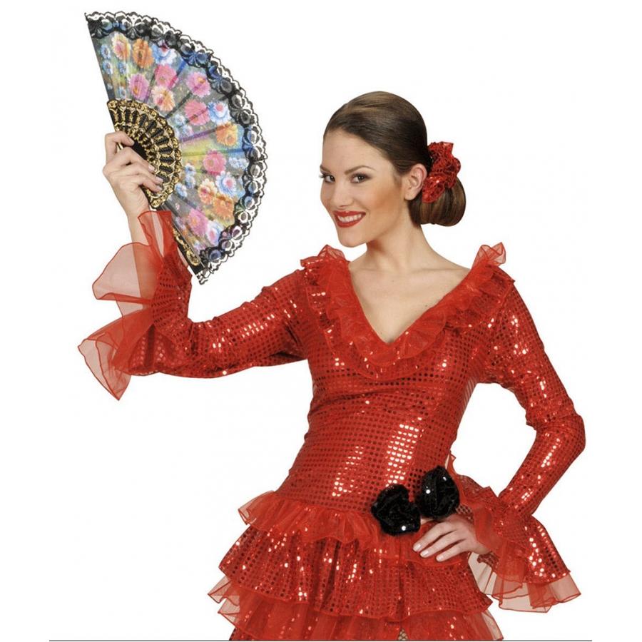 femme espagnole jolie flamenco évantail